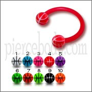 Red Bio Flexible Bar UV Ball Horseshoe Eyebrow Circular Barbell