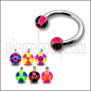 CBB Rings with Black And Red Mix Color UV Balls Body Jewelry