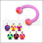 Pink UV Circular Barbell with Mix Color Checkeres UV Balls