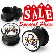 Screw Fit Ear Flesh Tunnel with Skull Logo body Jewelry