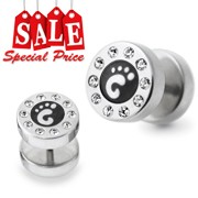 Foot Logo Jeweled Fake Ear Plug Earring