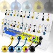 Mix Anodized belly Rings in a Display