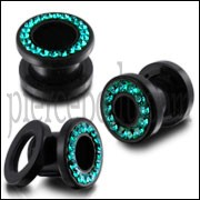 UV Ear Flesh Tunnel in Glue Setting With Blue Zircon