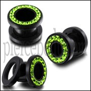 UV Ear Flesh Tunnel in Glue Setting with Peridot Stones