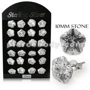 10MM CZ Flower Ear Stud in 12 pair Tray