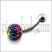 Glitter Multi Crystal stone SS Bar Belly Ring FDBLY310