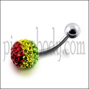 Multi Color Crystal stone Jeweled SS Bar Navel Body Jewelry Ring