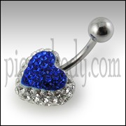 Royal Blue Crystal stone Heart With SS Curved Navel Belly Ring FDBLY336