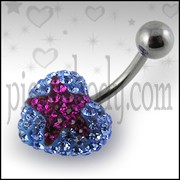Blue Crystal stone With Red Heart 316L SS Belly Ring