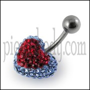 Multi Color Crystal stone Heart Belly Ring With Curved Barbell
