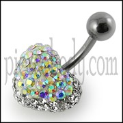 Crystal stone Heart Belly Ring FDBLY380