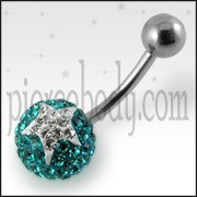Crystal stone Jeweled Star SS Bar Belly Ring FDBLY382