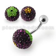 Glitter Multi Color Crystal stone Jeweled SS Banana Bar  Belly Ring