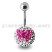 Butterfly Crystal stone Banana Bar Belly Ring