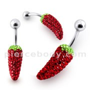 Red Chilli Crystal stone Belly Ring