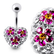 Crystal stone Heart With Small Flower Belly Banana Ring FDBLY622