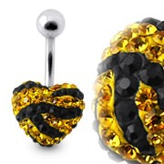 Tiger Strips Crystal Stone Heart Navel Ring With SS Banana Bar