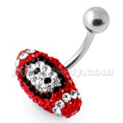 Red Crystal Rugby Ball Navel Bar