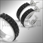 925 Sterling Silver Black Crystal Earring