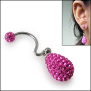 Crystal Pink stone Tear Drop Earring