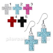 Sterling Silver Crystal Cross Earring