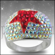 White Crystal with Red Star Stone Finger Ring