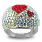 Multi Crystal Red Heart Shape Finger Ring