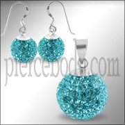 Crystal Stone Studded Silver Jewelry Earring Pendant Set