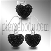 Black Crystal Stone Heart Silver Earring Pendant Set