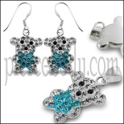 Multi Crystal stone Silver Earring Pendant Jewelry Set