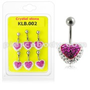 Crystal stone Heart Belly Ring With SS Curved Bar KLB002