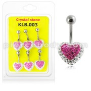 Pink Crystal stone Heart Navel Belly Ring With SS Banana Bar