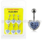 Crystal stone Heart With SS Banana Bar Belly Ring in Pouch