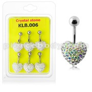 Crystal stone Heart Steel Bar Navel Belly Ring