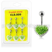 Green Crystal stone Heart With Curved Bar Navel Belly Ring