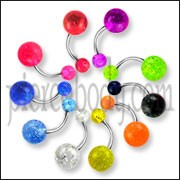 Belly rings with Glitter balls