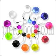 Belly rings with UV balls