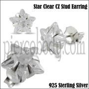 925 Sterling Silver Star CZ Earring