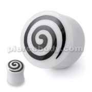 Bone Ear Plug with Swirl Inlay