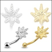 Marijuana Leaf Silver Eyebrow Ring