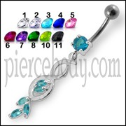 Multi Stone Jeweled Fancy Dangling SS Banana Bar Belly Ring