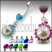 Jeweled Heart Pearl Dangling Navel Ring