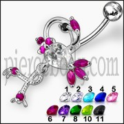 Fancy Multi Design Unique Jeweled Dangling Navel  Ring