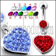 Fancy Red Zirconia Jeweled Heart Dangling Navel Ring Body Jewelry