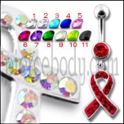 Fancy Red Jeweled RED CROSS Logo Dangling Belly Ring