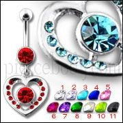 Fancy Jeweled Heart Red Centered Stone  Dangling Belly Ring Body Jewelry