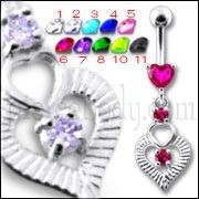 Silver Fancy Pink Heart Jeweled Heart Dangling Banana Belly Ring