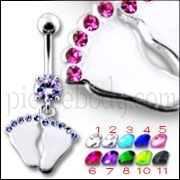 Silver Fancy Football Print Jeweled Dangling Belly Ring