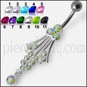 Fancy Long Chandelier Jeweled Silver Dangling Curved Belly Ring