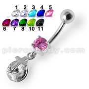 Silver Fancy Single Pink Jeweled CROSS Dangling Belly Ring